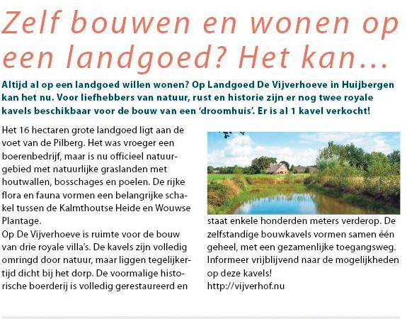 Afbeelding voor Aandacht van Huis & Tuin voor bouwkavels Huijbergen